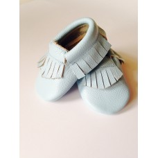 Leather Soft sole Moccasins - Pale Blue