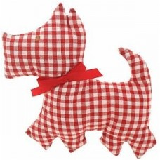 Red Gingham Scotty Dog toy rattle