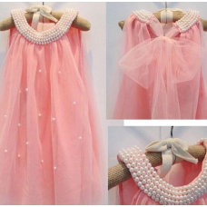 Pearl collar soft dress- Blush Pink