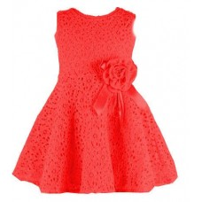 Broderie A-line dress with flower brooch - Rose Red