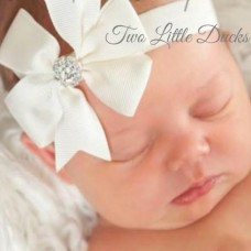 Sparkly diamante bow headband - White SOLD OUT