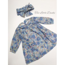 Bluebell Print hand smocked dress & headband