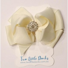 "Diamante ""Grace"" clip bow - Ivory"
