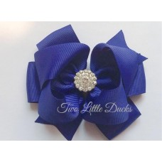 "Diamante ""Grace"" clip bow - Navy"