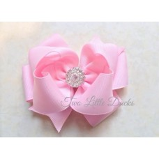 "Diamante ""Grace"" clip bow - Pink"