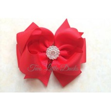"Diamante ""Grace"" clip bow - Red"