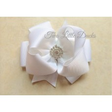"Diamante ""Grace"" clip bow - White"
