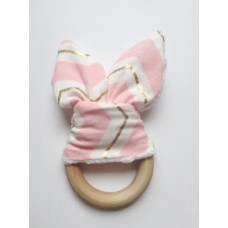 Pink wooden bunny ear teether