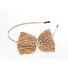 Alice beaded bow headband - Champagne