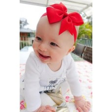 """Coco"" Petite bow headband - Ruby Red"