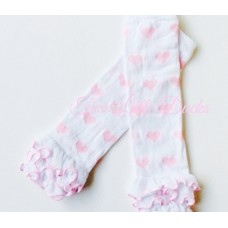 Valentine's Day love heart leg warmers - Pink