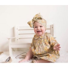 Meadow Floral hand smocked dress & headband