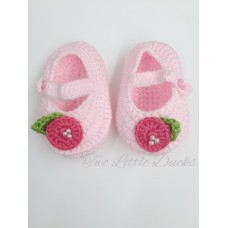 Rose detail crochet bootie - Pink