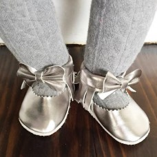 Mosov leather bow moccasins - Silver