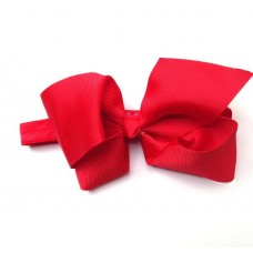 "Large ""Charlotte"" grosgrain bow headband - Ruby Red"