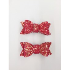 'Jean' Sparkle bow set - Christmas Red