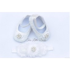 Rosette diamante shoe & headband set - WHITE