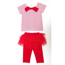 3 piece stripe bow tee, tutu and legging set